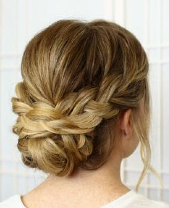 unique french braided wedding updo for bridesmaids